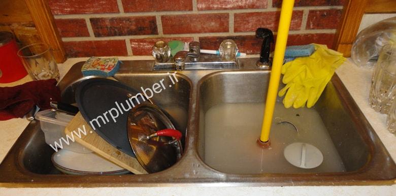 گرفتگی سینک ظرفشویی ، بالا زدن چاه سینک آشپزخانه