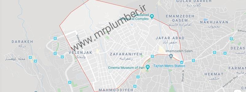 نقشه زعفرانیه تحت پوشش خدمات لوله بازکنی زعفرانیه